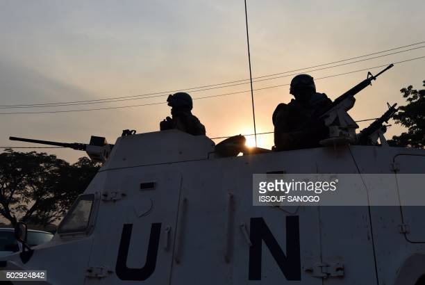 UN peacekeeping forces patrol during presidential and legislatives elections in the streets of the Muslim PK5 district of Bangui on December 30 2015...