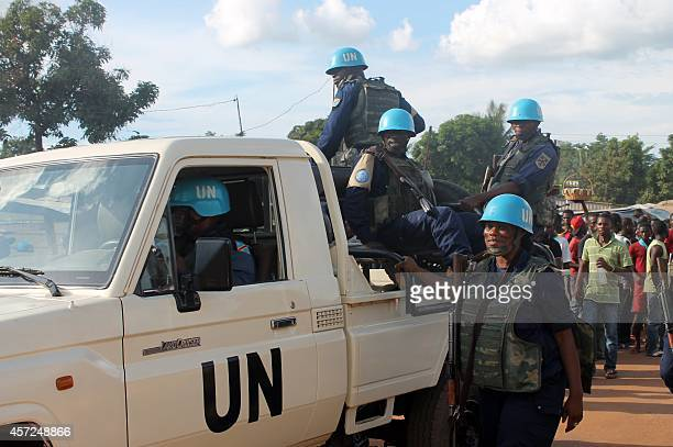 UN peacekeeping soldiers patrol in the Sango area in Bangui on October 15 2014 The Centrafrican presidency decounced on October 15 a destabilisation...