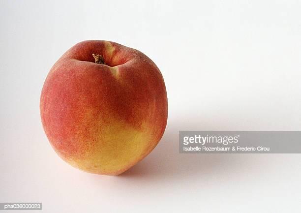Peach, close-up, white background