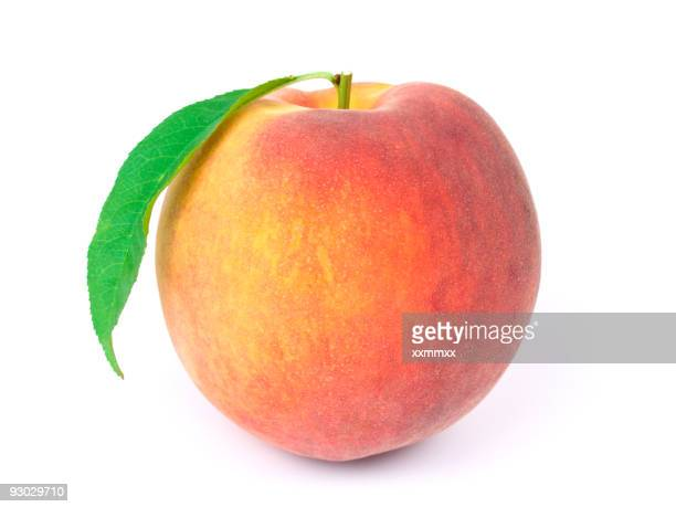 A peach isolated on white background