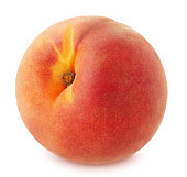 Peach isolated on white background. Full depth of field.