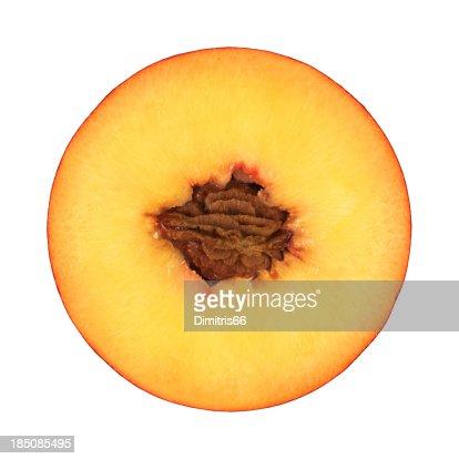 Peach portion on white
