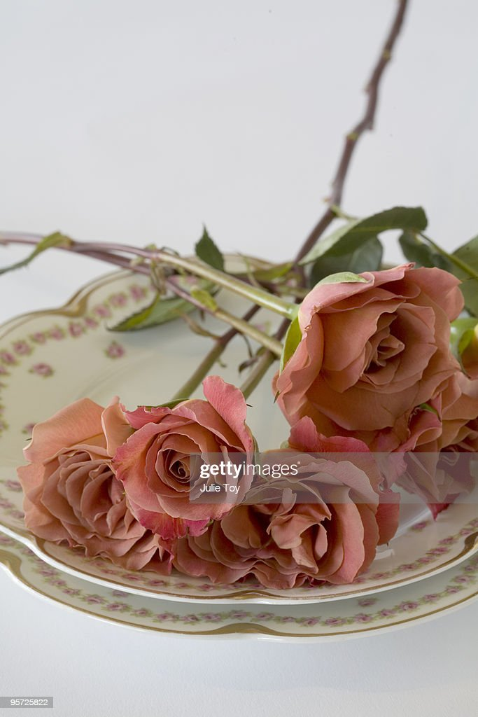 peach roses on an antique china place setting : Stock Photo