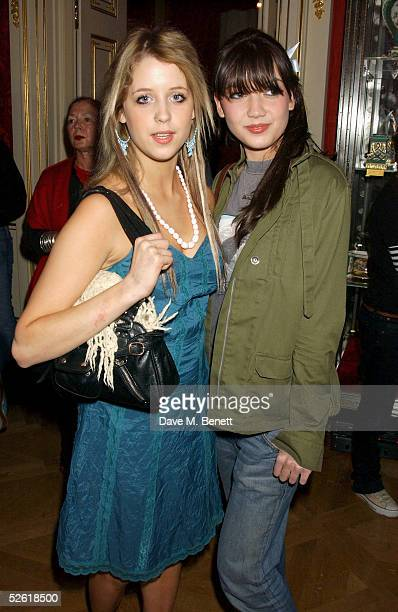 Peaches Geldof and Daisy Lowe attend the Miss Selfridge Fashion Show Party at the Wallace Collection on April 6 2005 in London