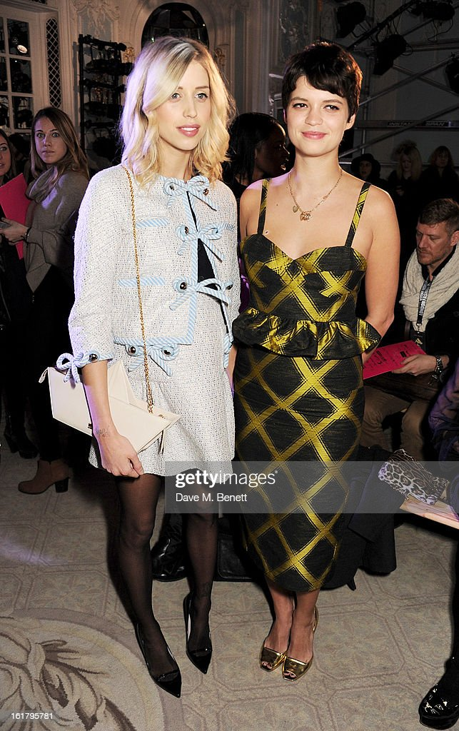 Peaches Geldof (L) and Pixie Geldof attend the Moschino cheap&chic show during London Fashion Week Fall/Winter 2013/14 at The Savoy Hotel on February 16, 2013 in London, England.