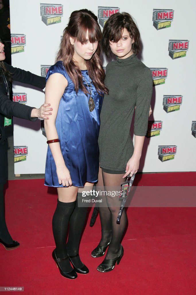 Peaches Geldof and Pixie Geldof during Shockwaves NME Awards 2007 - Red Carpet Arrivals at Hammersmith Palais in London, Great Britain.