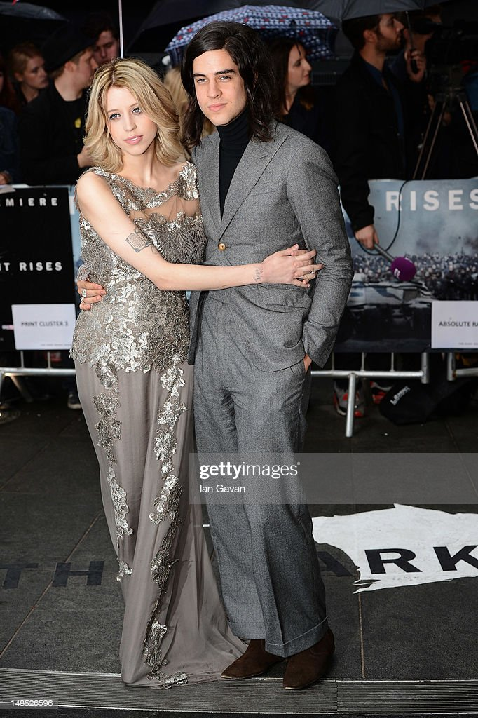 Peaches Geldof and Thomas Cohen attend the European premiere of 'The Dark Knight Rises' at Odeon Leicester Square on July 18 2012 in London England