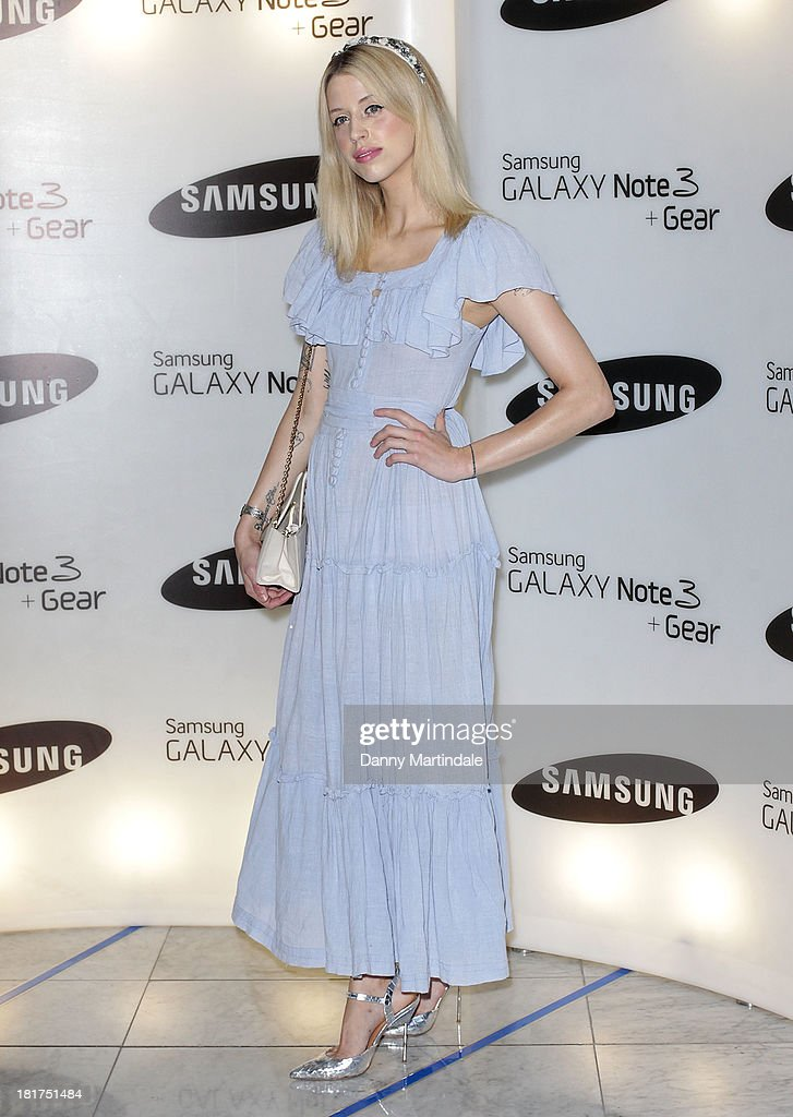 Peaches Geldof attends the launch of Samsung's Galaxy Gear and Galaxy Note 3 at ME Hotel on September 24 2013 in London England