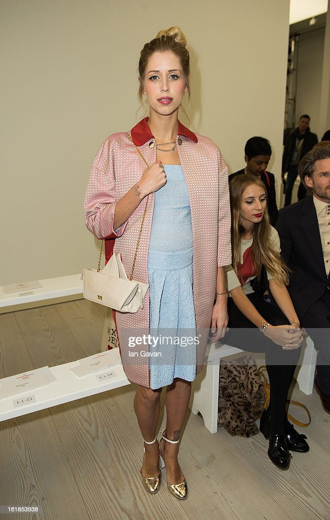 Peaches Geldof attends the Vivienne Westwood Red Label show during London Fashion Week Fall/Winter 2013/14 at the Saatchi Gallery on February 17, 2013 in London, England.