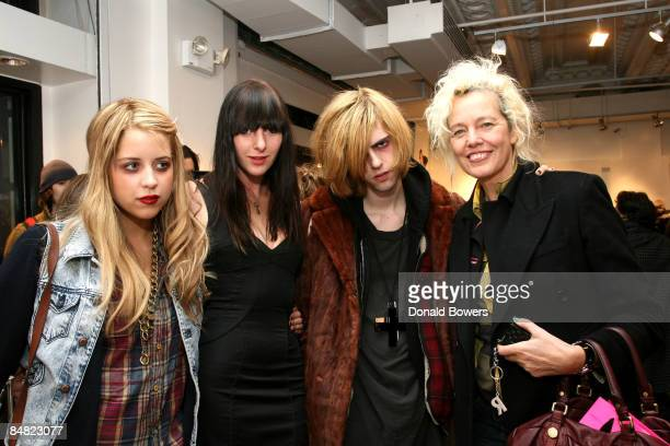 Peaches Geldof Lily Dekergeriest Bunny Kinneg and photographer Ellen Von Unworth pose at Payless at Alice Olivia Fall 2009 show during MercedesBenz...