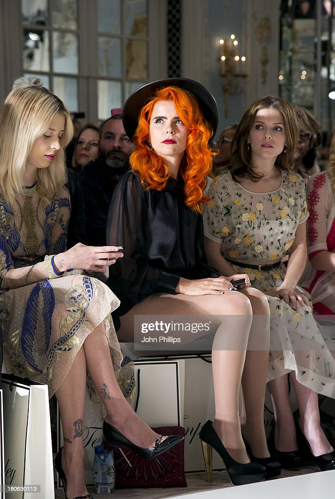 Peaches Geldof, Paloma Faith and Anna Kendrick attends the Temperley London show during London Fashion Week SS14 at The Savoy Hotel on September 15, 2013 in London, England.