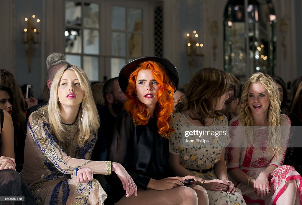 Peaches Geldof, Paloma Faith, Anna Kendrick and MacKenzie Mauzy attends the Temperley London show during London Fashion Week SS14 at The Savoy Hotel on September 15, 2013 in London, England.