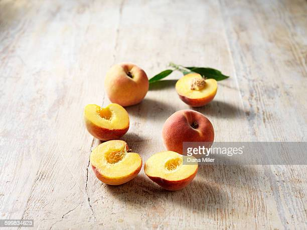 Peaches, halved and whole