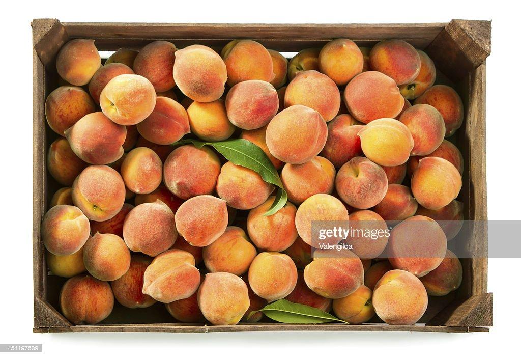 Peaches in box : Stock Photo