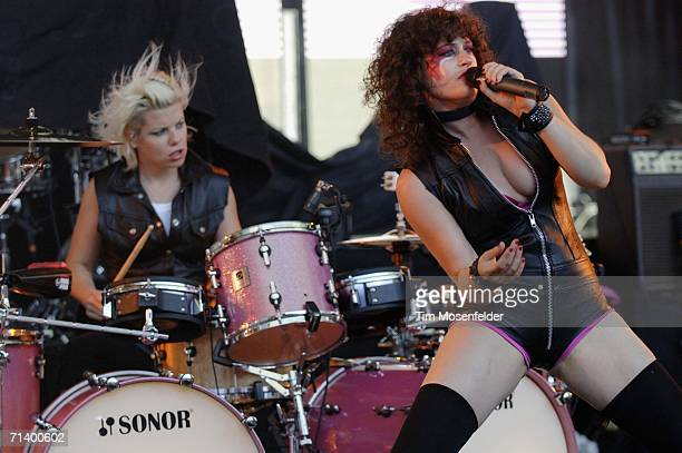 Peaches 'Merrill Nisker' and her band perform in support of Peaches 'Impeach My Bush' release at Shoreline Amphitheatre on July 8 2006 in Mountain...
