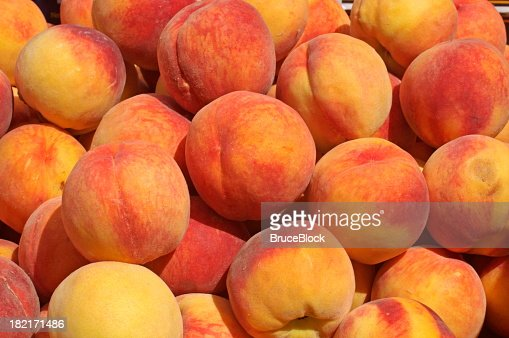 Peaches on Display at the Farmer's Market