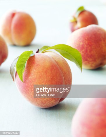 Peaches on Wood Surface