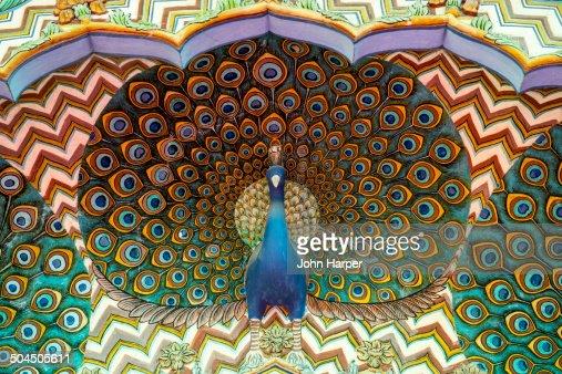 Peacock carving, City Palace, Jaipur, India