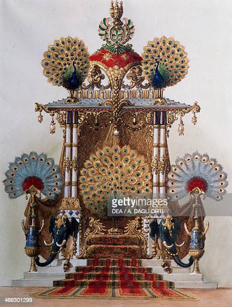 Peacock Throne for the Moorish cloister of Linderhof Palace commissioned by Ludwig II Watercolour gouache and gold dust created by Franz Seitz