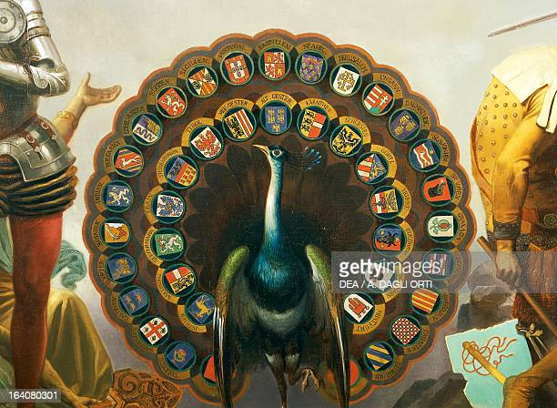 Peacock with the coat of arms of Spain's tributary nations detail from Allegory on Charles V of Habsburg as Ruler of the world painting by Peter...