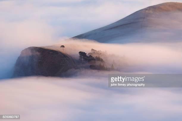 Peak District misty hills at sunrise
