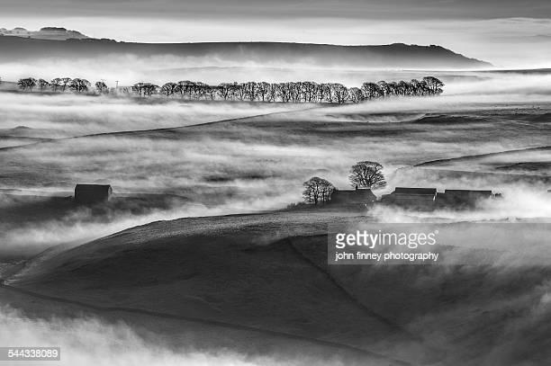 Peak District misty landscape black-and-white