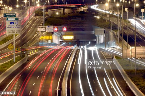 Peak hour traffic passes through the Lane Cove Tunnel which is forty percent owned by Cheung Kong Infrastructure Holdings Ltd in Sydney Australia on...