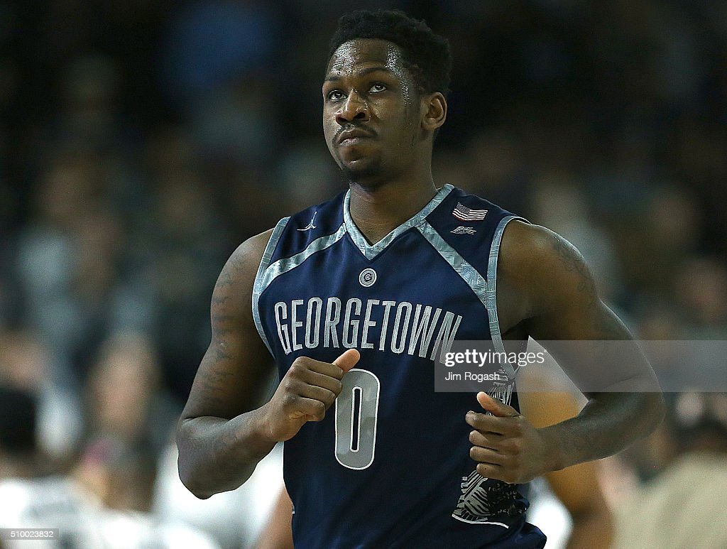 L.J. Peak #0 of the Georgetown Hoyas reacts against the Providence Friars in the second half on February 13, 2016, at the Dunkin' Donuts Center in Providence, Rhode Island.