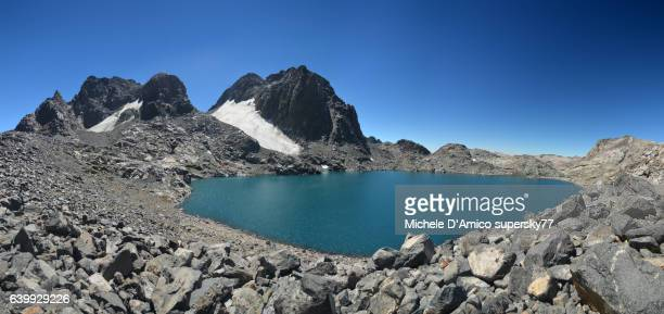 Peaks, glaciers and blue clean lakes under the High Sierra sunshine