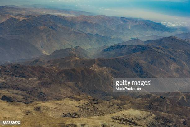 Peaks of Andes mountains from above