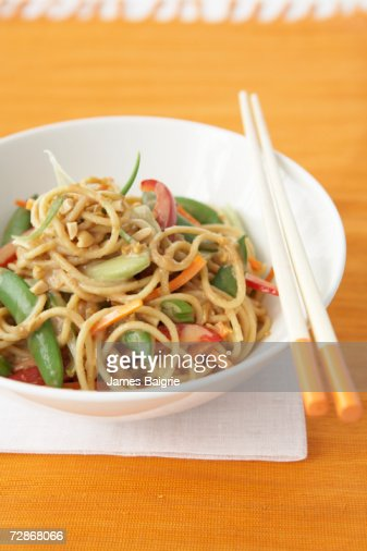 Peanut and vegetable noodles, close-up