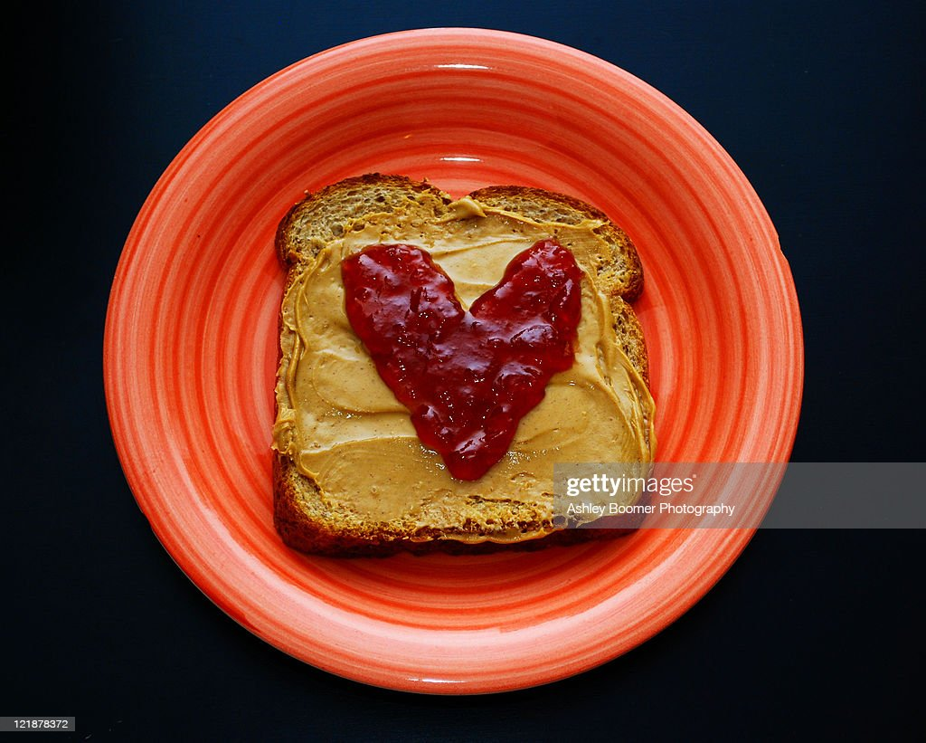 Peanut Butter And Heart Shaped Jelly Stock Photo | Getty Images