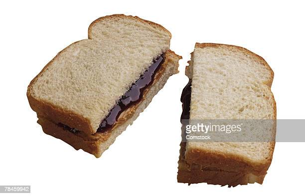 Peanut butter and jelly sandwich cut in half