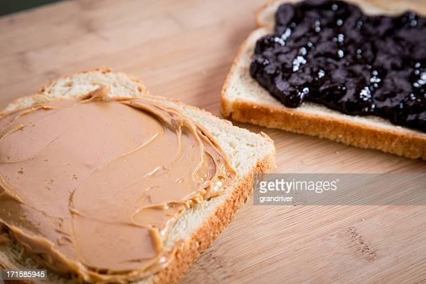 Erdnussbutter-Marmelade-Sandwich Fancy Mittagessen