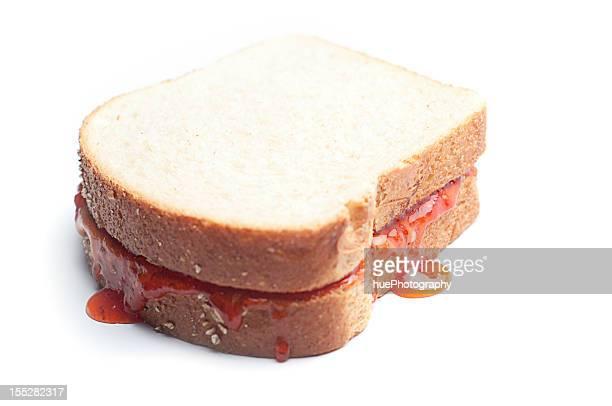 Erdnussbutter-Marmelade-Sandwich