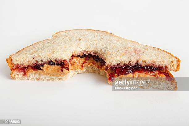 Peanut Butter and Jelly Sandwich with Bite Taken.