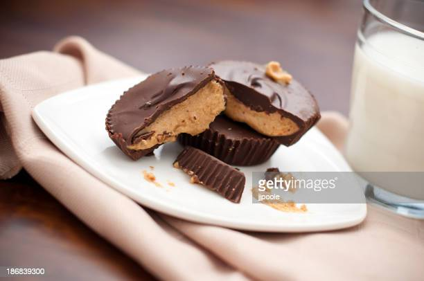 Peanut butter cups served on a plate