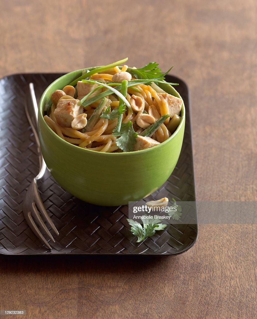 Peanut Noodles with Tofu : Stock Photo