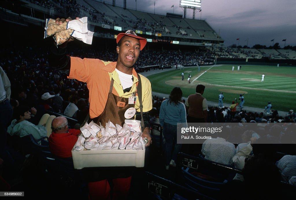 Peanut Vendor in Stadium : Stock Photo