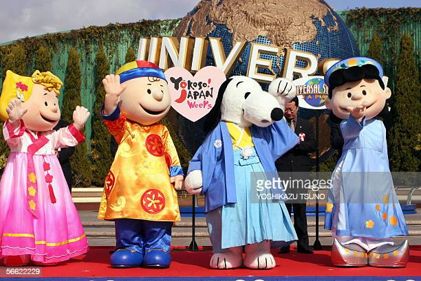Peanuts characters Sally in Korean Charlie Broan in Chinese Snoopy in Japanese and Lucy in Vietnamese national costumes greet Asian countries guests...