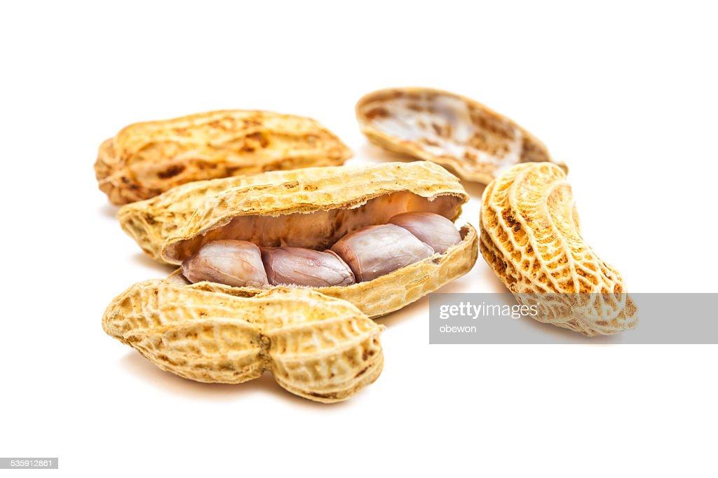 Peanuts isolated on white background : Stock Photo