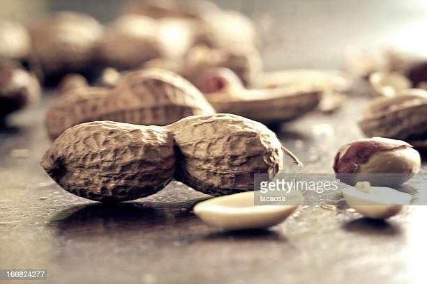 peanuts on a wooden table