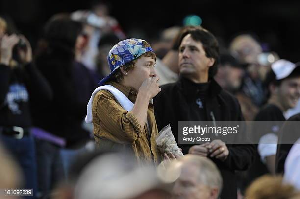 Rockies fans eating Peanuts before game four of the World Series between the Colorado Rockies and Boston Red Sox at Coors FieldThe Denver Post Andy...