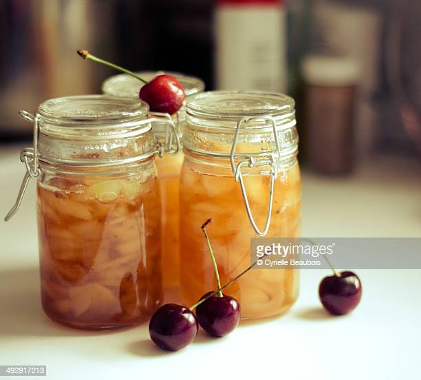 Pear jam jar home-made and cherries