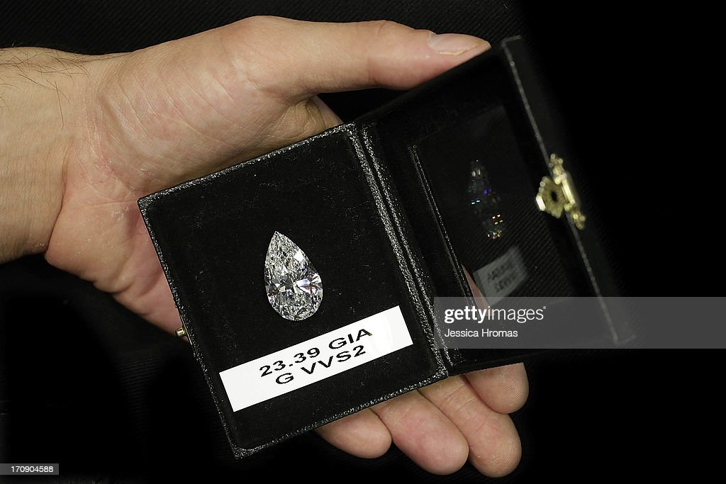 A pear shaped 23.39 ct diamond, G VVS2 with GIA certificate, valued at $2.6 Million USD at Eshed Diam Ltd's stall is shown at the Hong Kong Jewellery and Gem Fair on June 20, 2013 in Hong Kong, Hong Kong. The June Hong Kong Jewellery & Gem Fair runs from June 20 - 23.