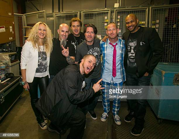 Pearl Aday Scott Ian Jim Florentine Don Jamieson Corey Taylor Finesse Mitchell and Jamey Jasta pose backstage during Monster Energy Roast On The...