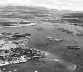 Pearl Harbor fills with units of Operations Crossroads target and support fleets for the Bikini Atoll atom bomb tests Pearl Harbor Hawaii March 14...