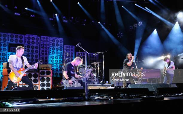 Pearl Jam perform during Budweiser Made In America Festival Benefiting The United Way Day 2 at Benjamin Franklin Parkway on September 2 2012 in...