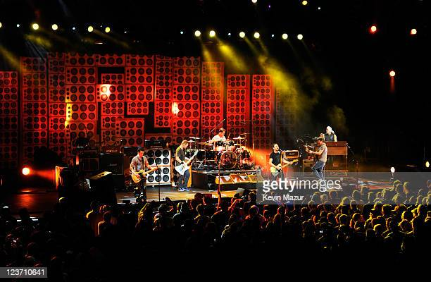 Pearl Jam performs during Pearl Jam Destination Weekend at Alpine Valley Music Theatre on September 3 2011 in East Troy Wisconsin