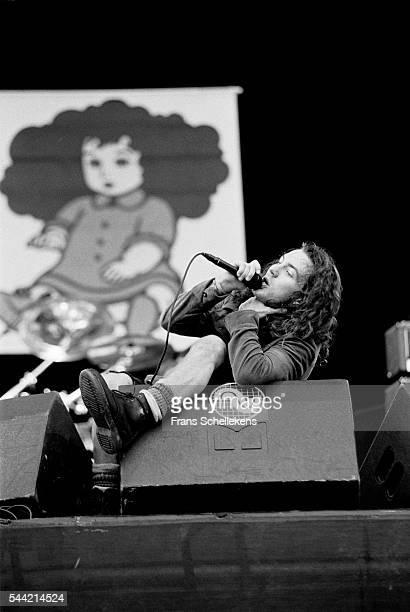 Pearl Jam singer Eddie Vedder performs during Pinkpop festival on June 28th 1992 at Landgraaf the Netherlands